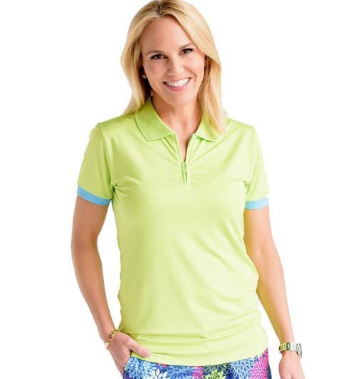 Birdies & Bows On Par Lime Green Ladies Golf Polo