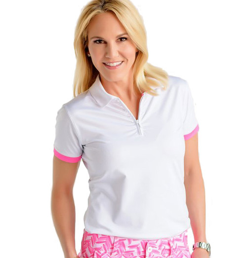 Birdies & Bows On Par White Ladies Golf Polo - Size: XS & XL