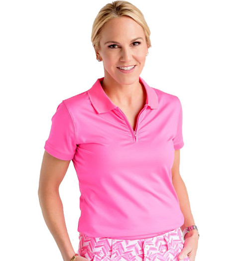 Birdies & Bows On Par Pink Ladies Golf Polo - Size: XS