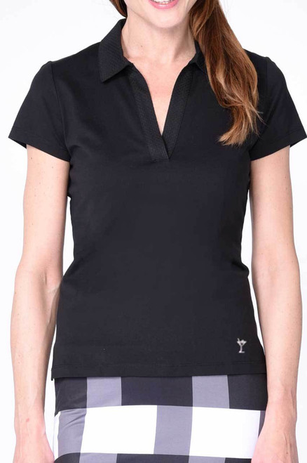 Golftini Black Short Sleeve Polo with Mesh Trim