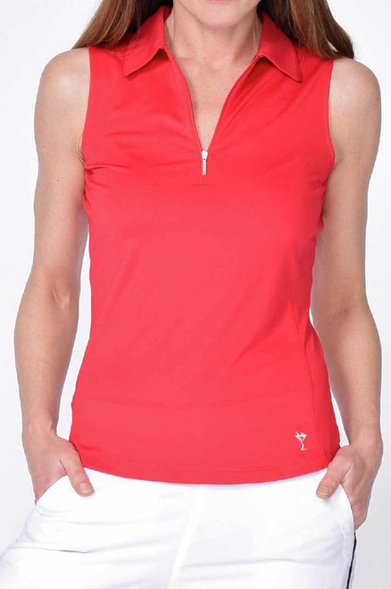 Golftini Red Sleeveless Zip Tech Polo