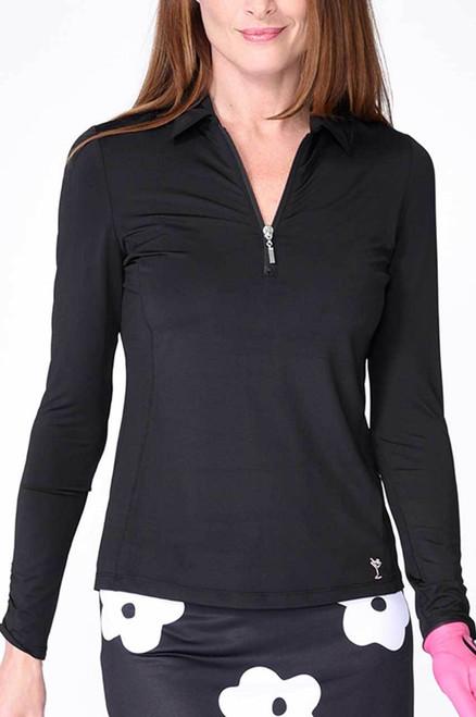 Golftini Black Long Sleeve Zip Tech Polo