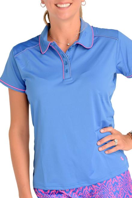 Birdies & Bows Pitch Putt Medium Blue Ladies Golf Polo with Pink Trim