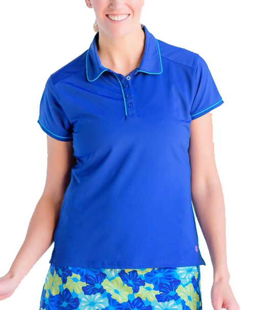 Birdies & Bows Pitch Putt Navy Blue Ladies Golf Polo with Turquoise Trim