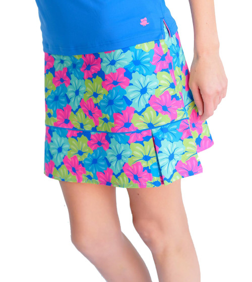 Birdies & Bows Putting Petals Pleated Golf Skort