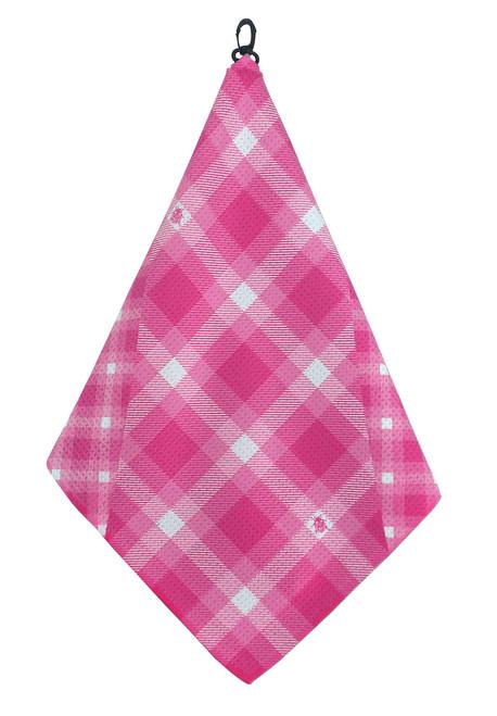 Beejo Pink Plaid Golf Towel