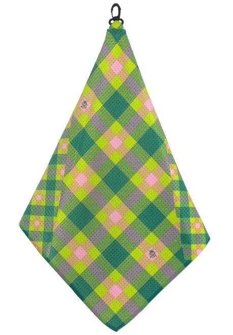 Beejo Green, Pink & Lime Plaid Golf Towel