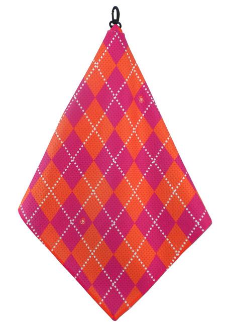 Beejo Hot Pink & Orange Golf Towel
