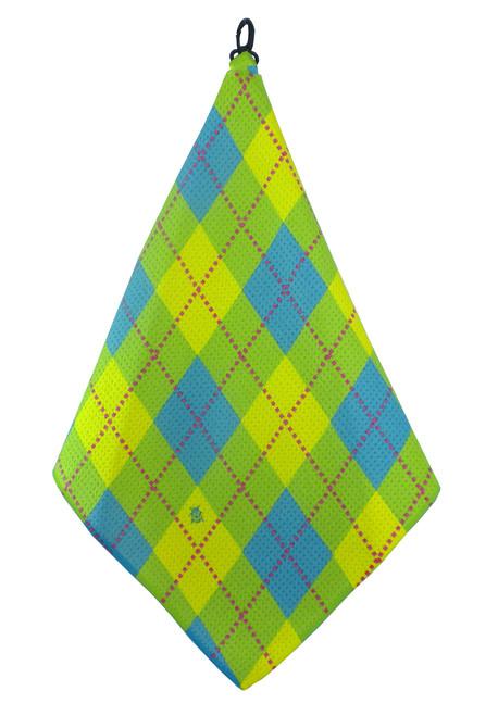 Beejo Lime, Blue & Yellow Argyle Golf Towel