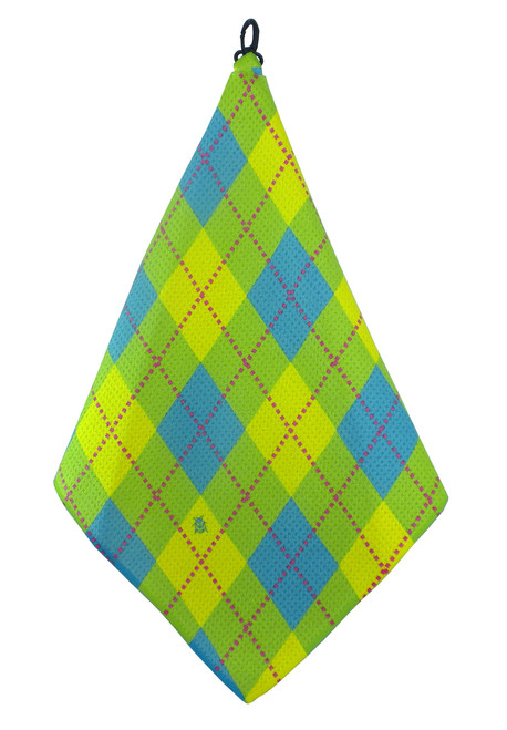 Beejo Lime, Blue & Yellow Argyle Golf Towel