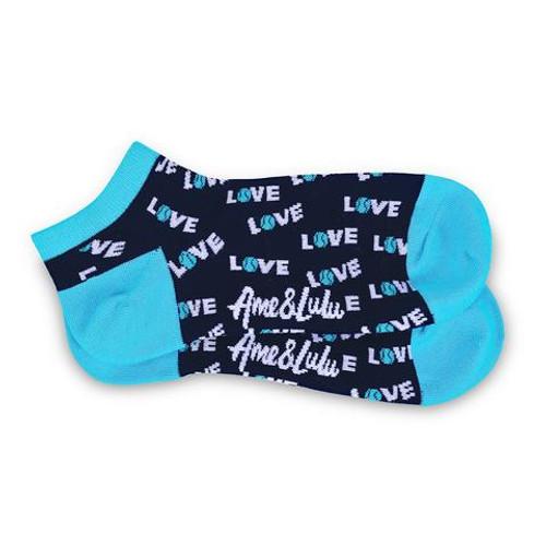 Ame & Lulu Turquoise Love Tennis Socks