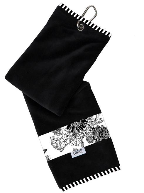 Glove It Black & White Rose Ladies Golf Towel