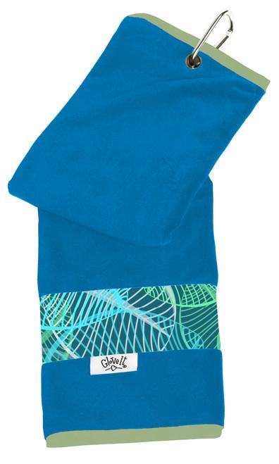 Glove It Aqua Leaf Ladies Golf Towel