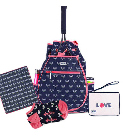 Ame & Lulu Match Point Tennis Backpack + Towel, Wristlet and Socks