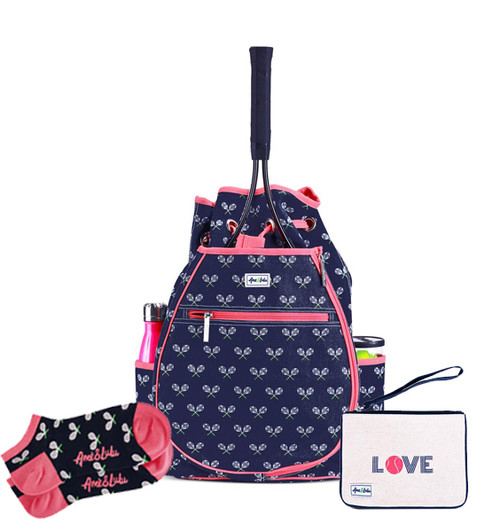 Ame & Lulu Match Point Tennis Backpack + Wristlet and Socks