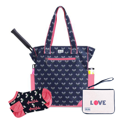 Ame & Lulu Match Point Tennis Tote + Wristlet and Socks