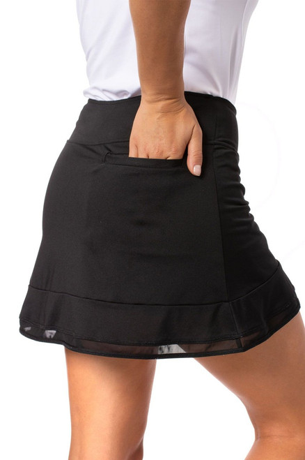 Golftini Black Top Golf Pull On Mesh Trim Skort