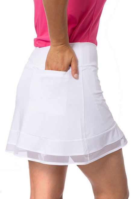 Golftini White Top Golf Pull On Mesh Trim Skort