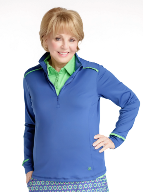 Birdies & Bows Blue & Green Quarter Zip Long Sleeve Golf Shirt