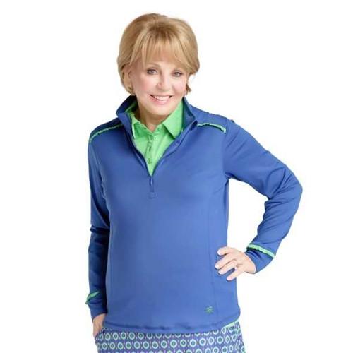 Birdies & Bows Blue & Green Quarter Zip Golf Jacket