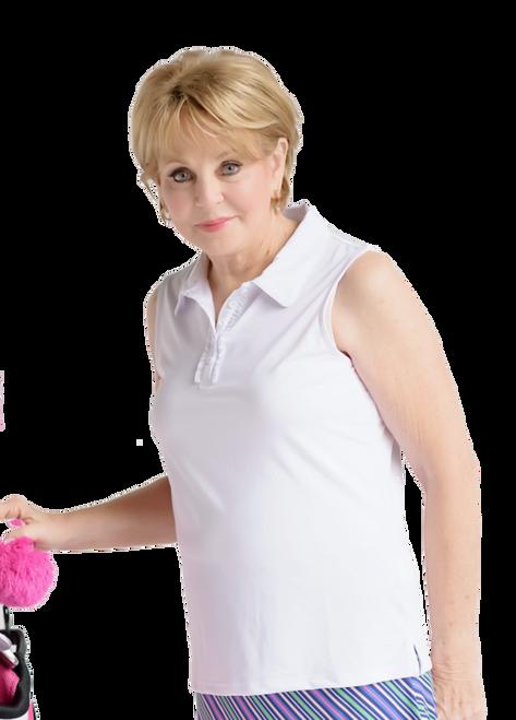 Birdies & Bows Pin High White Ruffle Sleeveless Ladies Golf Shirt