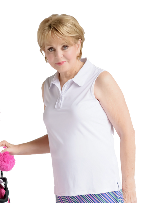 Birdies & Bows Pin High White Sleeveless Ladies Golf Shirt has a ruffle down the front collar to add a sporty touch.