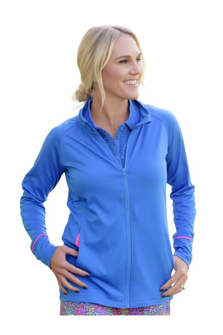 Birdies & Bows Front Nine Full Zip Jacket - Blue