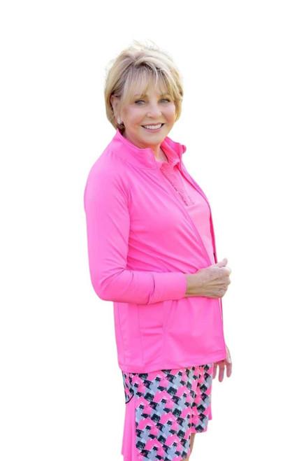 Birdies & Bows Front Nine Full Zip Jacket - Pink