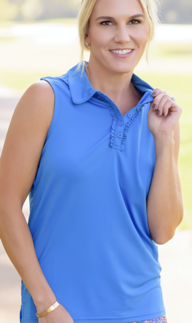 Birdies & Bows Medium Blue Ruffle Sleeveless Ladies Golf Shirt