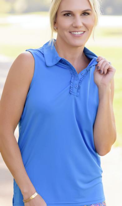 Birdies & Bows Pin High Golf Polo- Bright Blue sleeveless ruffle polo