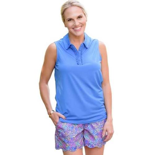 Birdies & Bows Pin High Golf Polo- Bright Blue