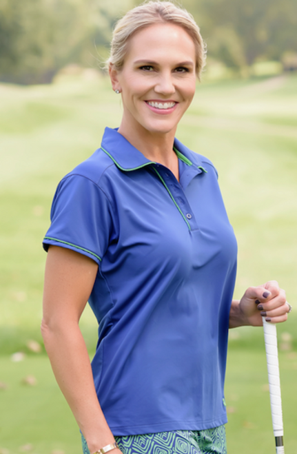 Birdies & Bows Pitch Putt Navy Blue Ladies Golf Polo with Green Trim