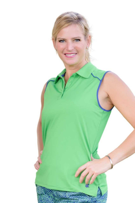 Birdies & Bows Match Play Green Sleeveless Ladies Golf Shirt