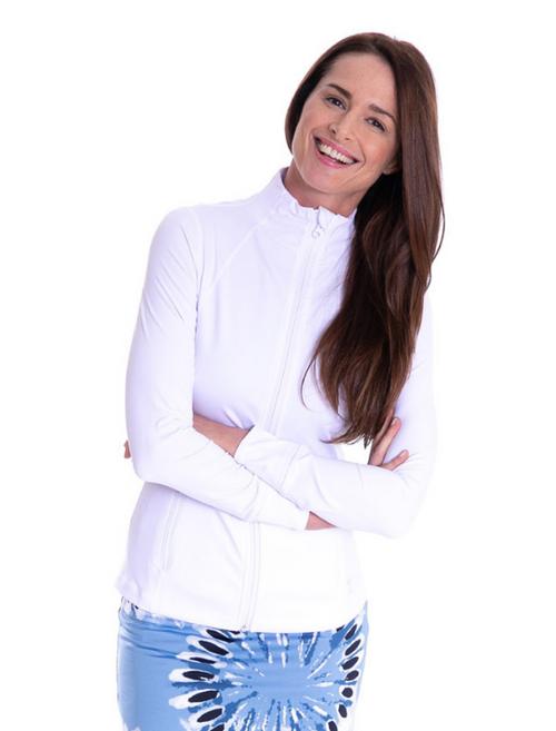 Golftini Brushed Fleece GT Tech Jacket - White