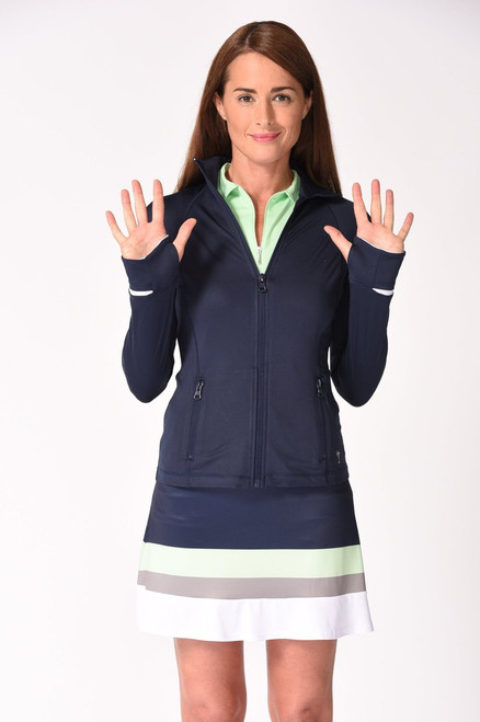 Golftini Brushed Fleece GT Tech Jacket - Navy & White
