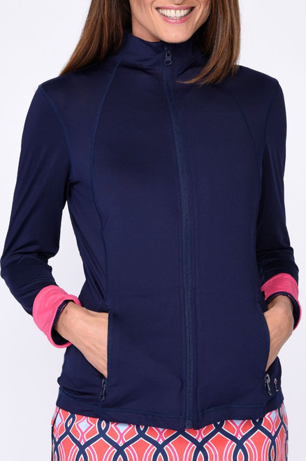 Golftini Brushed Fleece GT Tech Jacket - Navy & Pink