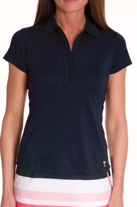 Golftini Navy Short Sleeve Ruffle Polo
