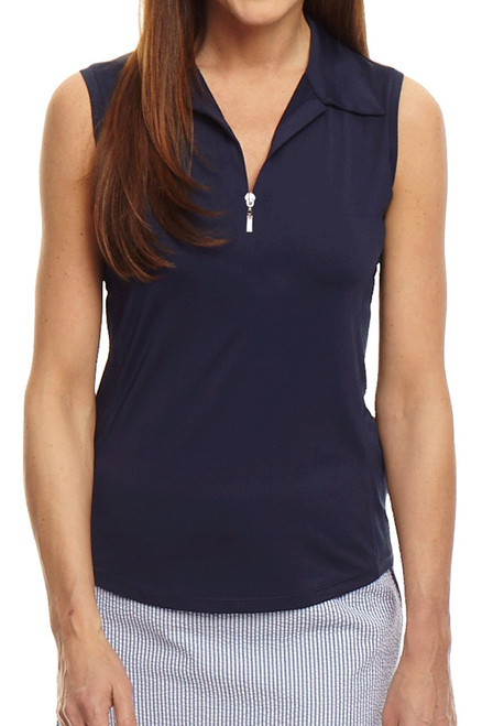Golftini Navy Sleeveless Zip Tech Polo