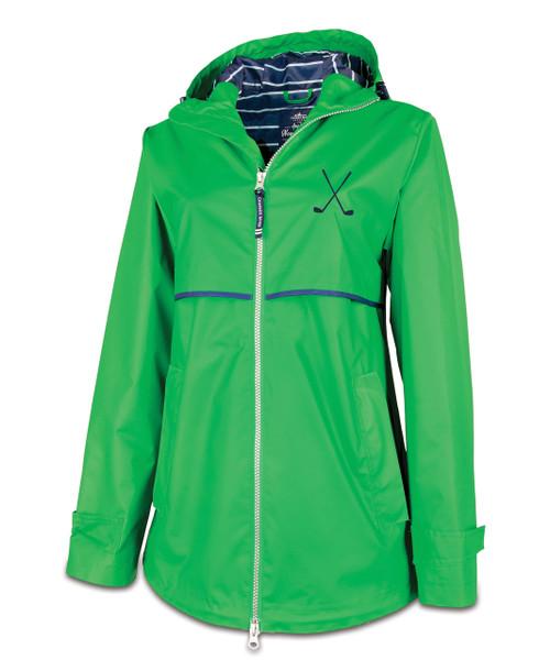 Ame & Lulu New Englander Golf Lovers Rain Jacket - Kelly Green