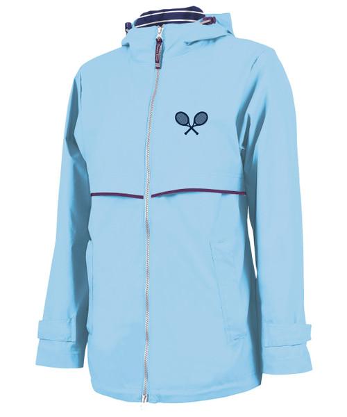 Ame & Lulu New Englander Tennis Lovers Rain Jacket - Light Blue