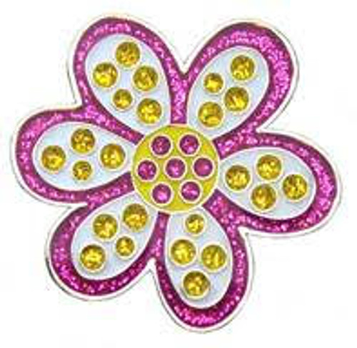 Navika Glitzy Purple Daisy Ball Marker