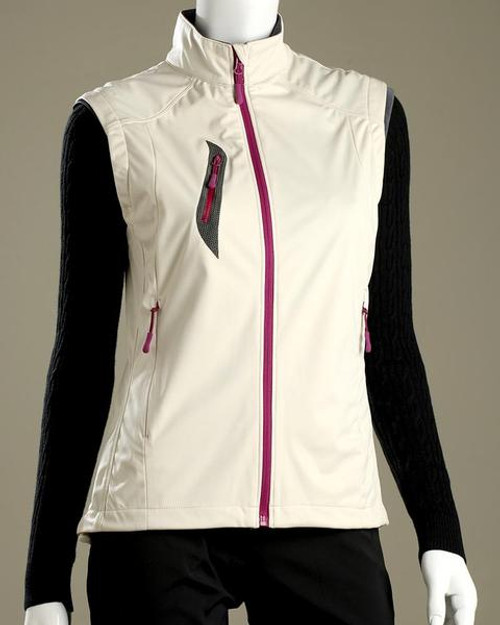 Glen Echo Golf Ladies White Stretch Tech Water Repellent Full Zip Vest
