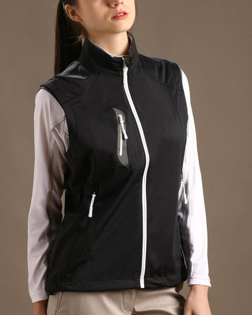 Glen Echo Golf Ladies Black Stretch Tech Water Repellent Full Zip Vest