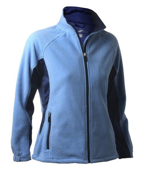 Glen Echo Ladies Blue Sueded Fleece Jacket with Stretch Tech Panels