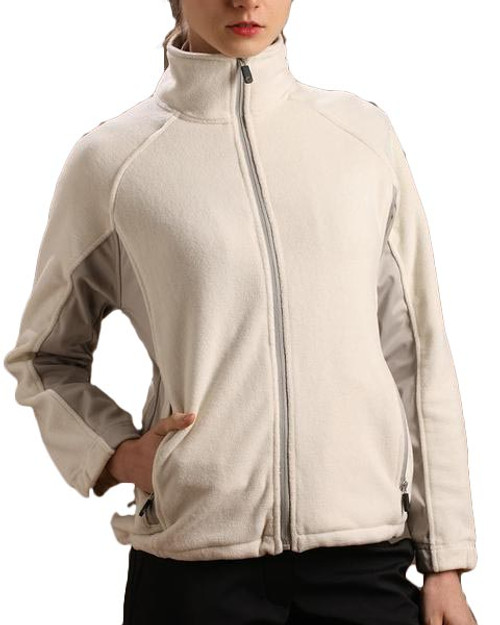 Glen Echo Ladies Oyster Sueded Fleece Jacket with Stretch Tech Panels