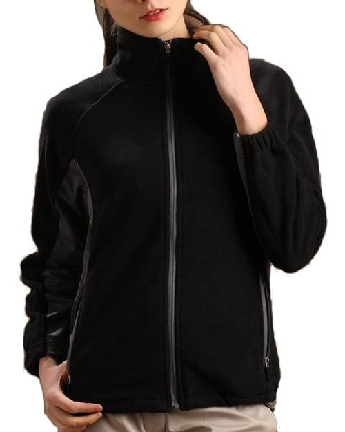 Glen Echo Ladies Black Sueded Fleece Jacket with Stretch Tech Panels