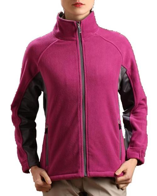 Glen Echo Ladies Fuschia Sueded Fleece Jacket with Stretch Tech Panels