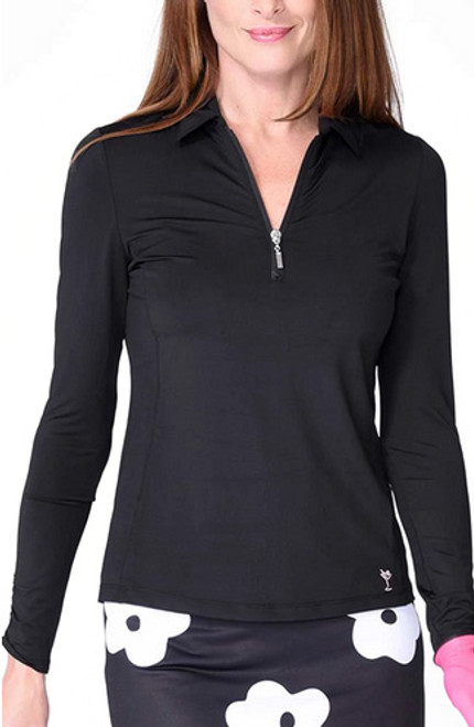 Golftini Long Sleeve Zip Tech Polo - Black