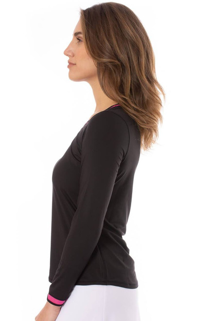 Golftini Long Sleeve Mesh Trim Top - Black with Hot Pink