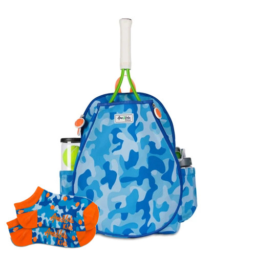 Ame & Lulu Little Love Blue Camo Kids Tennis Backpack + Socks
